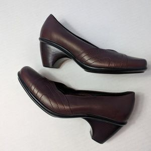 DANSKO Brown Chunky Heel Leather 38 7.5 8